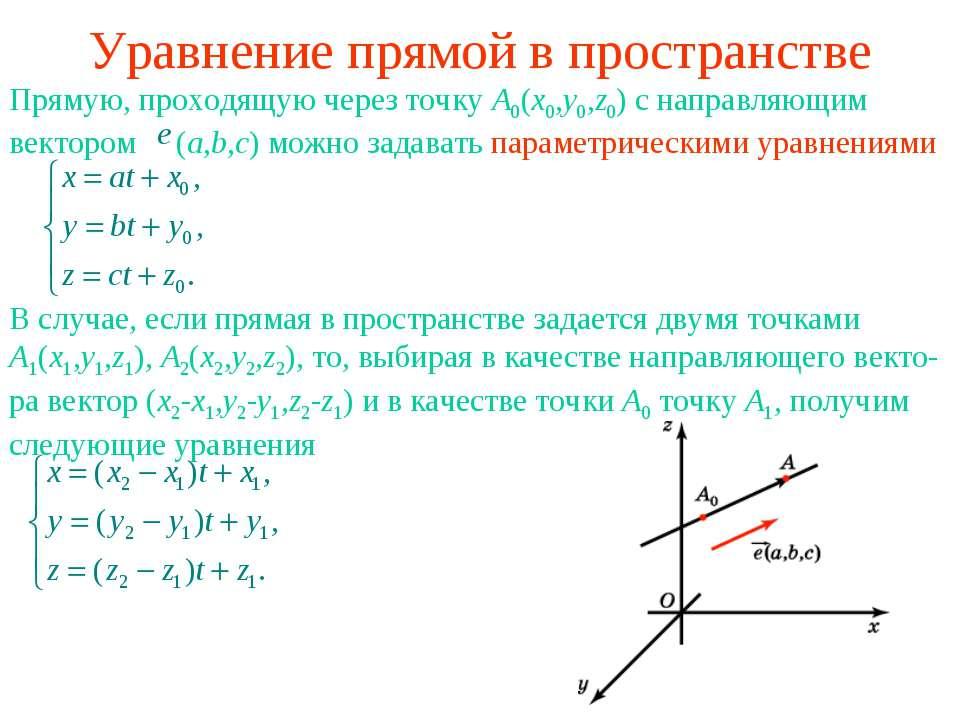 Уравнение прямой в пространстве Прямую, проходящую через точку A0(x0,y0,z0) с...