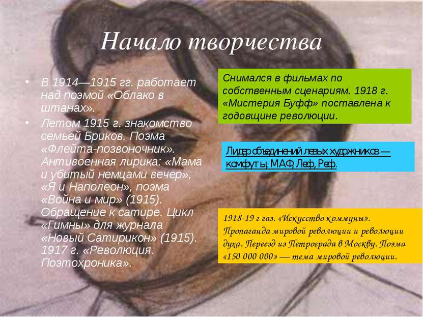 Начало творчества В 1914—1915гг. работает над поэмой «Облако в штанах». Лето...