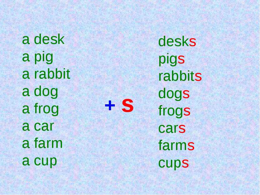 a desk a pig a rabbit a dog a frog a car a farm a cup + s desks pigs rabbits ...