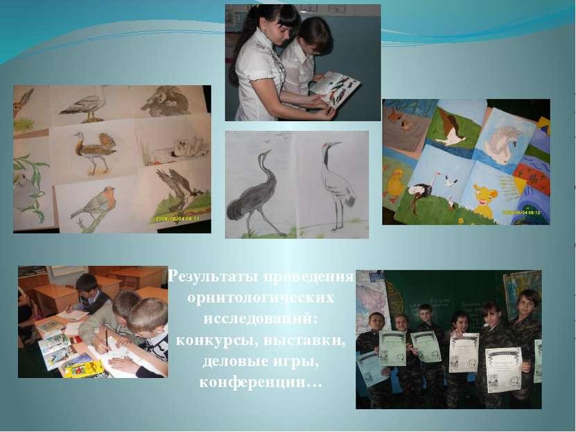 Результаты проведения орнитологических исследований: конкурсы, выставки, дело...