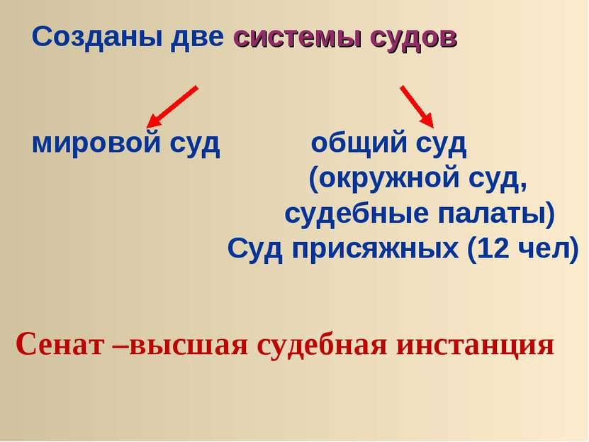 Созданы две системы судов мировой суд общий суд (окружной суд, судебные палат...