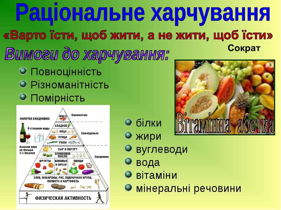 Повноцінність Різноманітність Помірність білки жири вуглеводи вода вітаміни м...