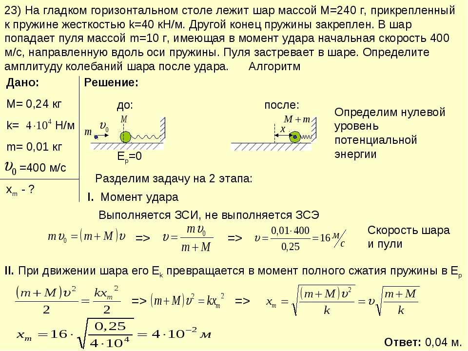23) На гладком горизонтальном столе лежит шар массой М=240 г, прикрепленный к...
