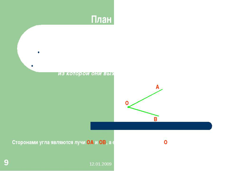 12.01.2009 Дворяшина Т.Е. * I.Определение угла, понятие стороны и вершины угл...