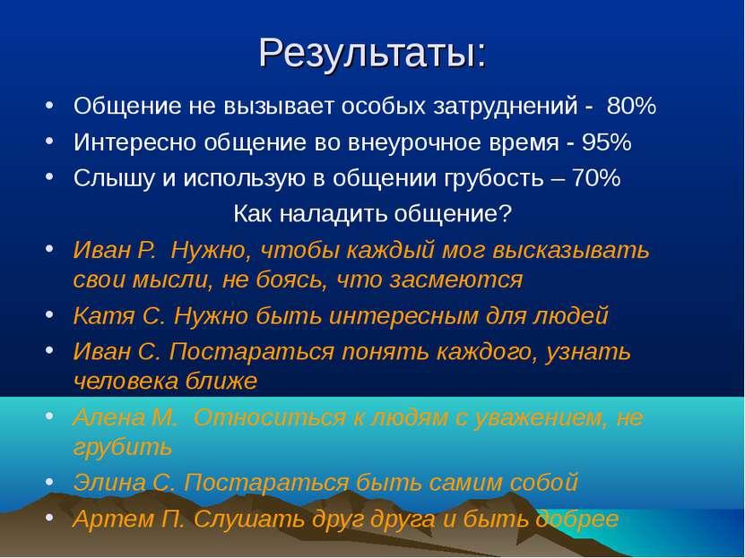 Результаты: Общение не вызывает особых затруднений - 80% Интересно общение во...