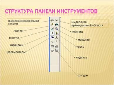 Выделение прямоугольной области заливка масштаб кисть надпись Выделение произ...