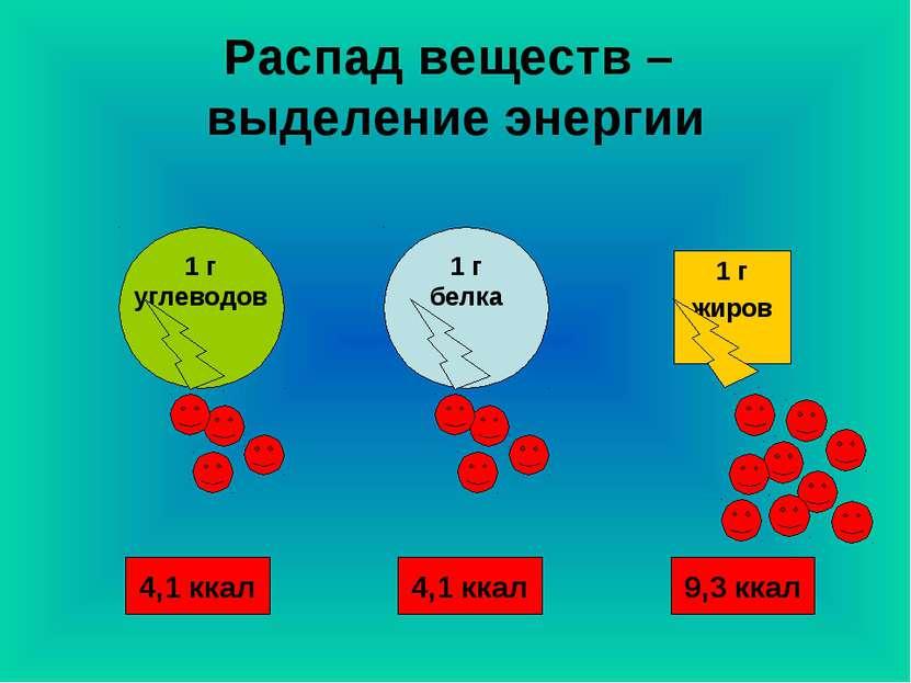 Распад веществ – выделение энергии 1 г жиров 4,1 ккал 9,3 ккал 4,1 ккал