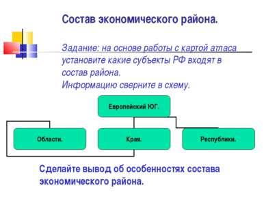 Состав экономического района. Задание: на основе работы с картой атласа устан...