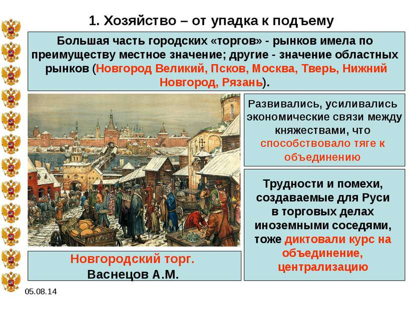 * 1. Хозяйство – от упадка к подъему Большая часть городских «торгов» - рынко...
