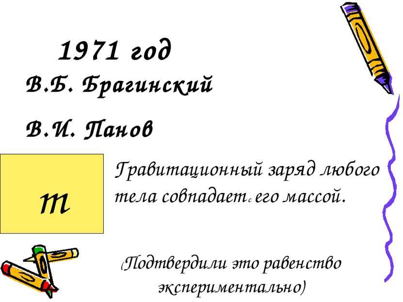 1971 год В.Б. Брагинский В.И. Панов Гравитационный заряд любого тела совпадае...