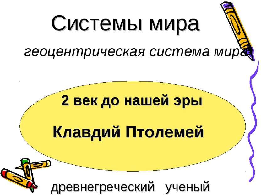 Системы мира Клавдий Птолемей 2 век до нашей эры древнегреческий ученый геоце...