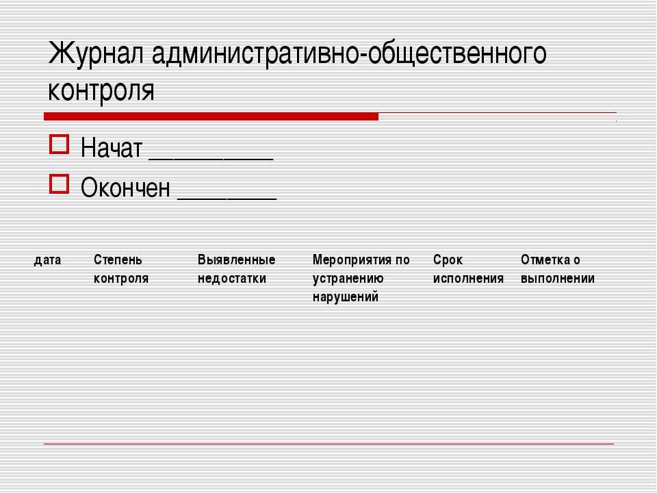 Журнал административно-общественного контроля Начат __________ Окончен ______...
