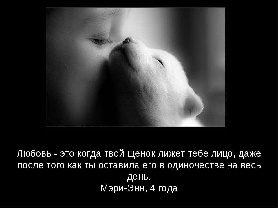 Любовь - это когда твой щенок лижет тебе лицо, даже после того как ты оставил...