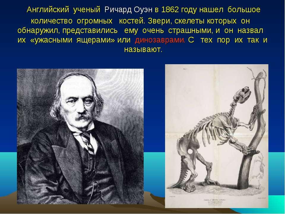 Английский ученый Ричард Оуэн в 1862 году нашел большое количество огромных к...