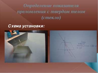 Определение показателя преломления с твердом телом (стекло) Схема установки: