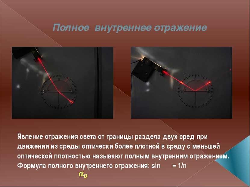Полное внутреннее отражение Явление отражения света от границы раздела двух с...