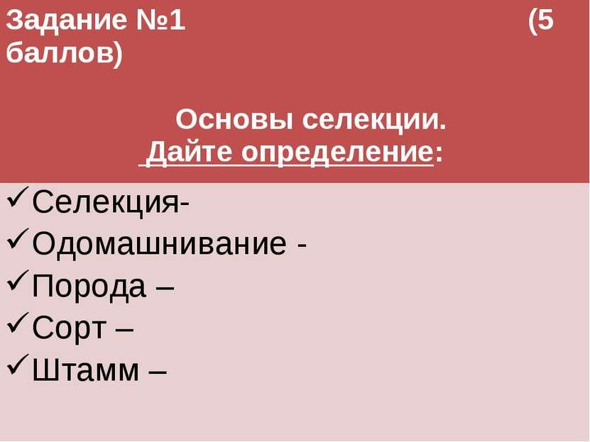 Задание №1 (5 баллов) Основы селекции. Дайте определение: Селекция- Одомашнив...