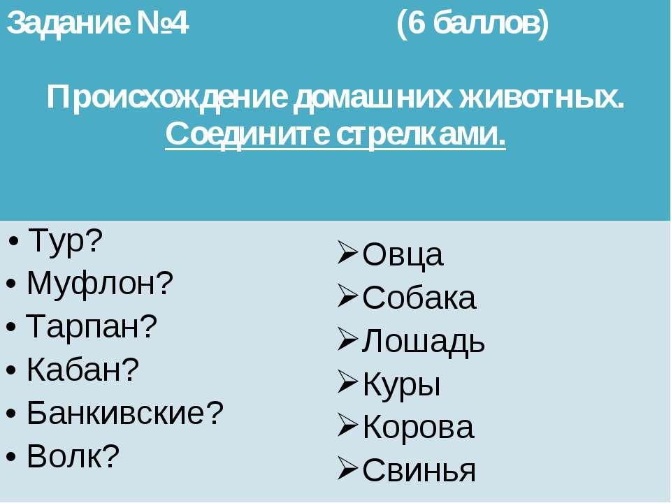 Задание №4 (6 баллов) Происхождение домашних животных. Соедините стрелками. ...