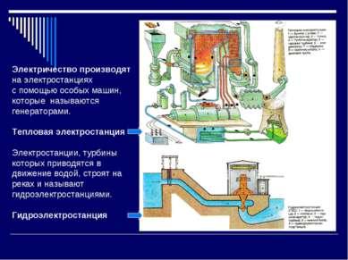 Электричество производят на электростанциях с помощью особых машин, которые н...