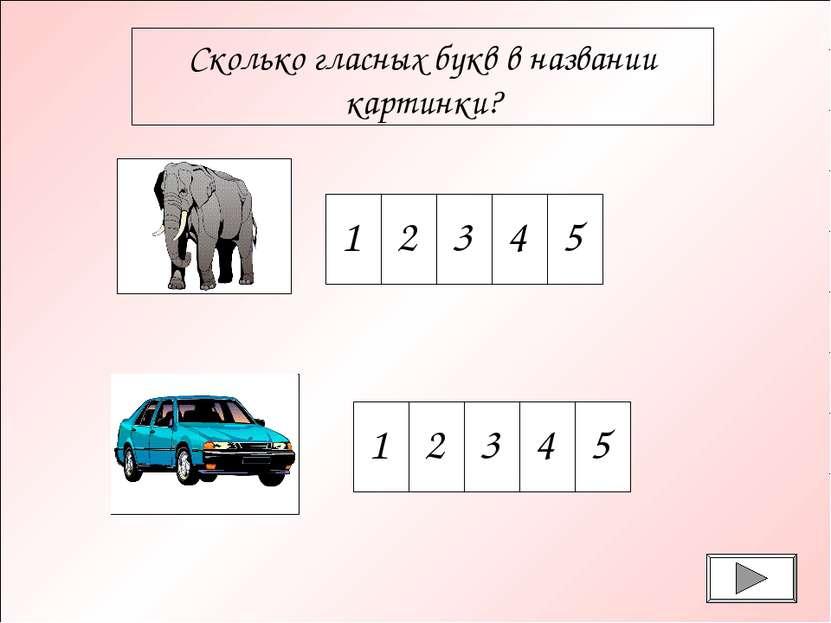 Сколько гласных букв в названии картинки? 1 2 3 4 5 1 2 3 4 5