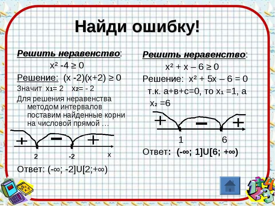 Найди ошибку! Решить неравенство: х² -4 ≥ 0 Решение: (х -2)(х+2) ≥ 0 Значит х...