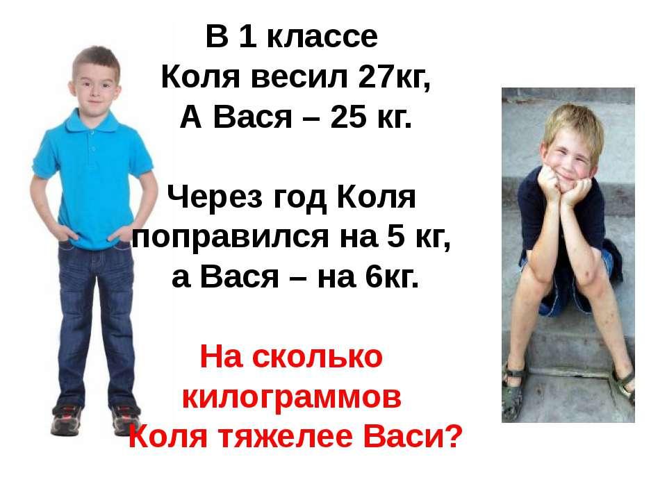 В 1 классе Коля весил 27кг, А Вася – 25 кг. Через год Коля поправился на 5 кг...