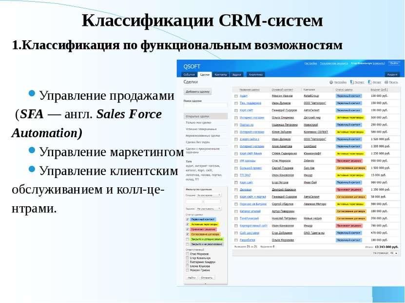 Классификации CRM-систем 1.Классификация по функциональным возможностям Управ...