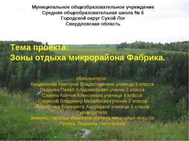Тема проекта: Зоны отдыха микрорайона Фабрика. Исполнители: Бердникова Кристи...