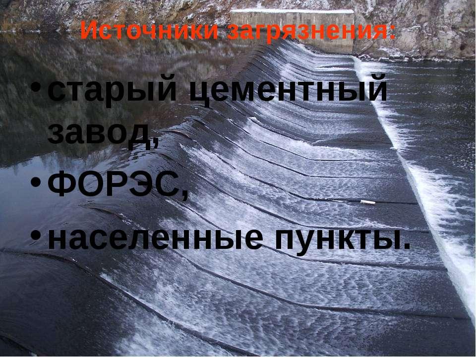 Источники загрязнения: старый цементный завод, ФОРЭС, населенные пункты.
