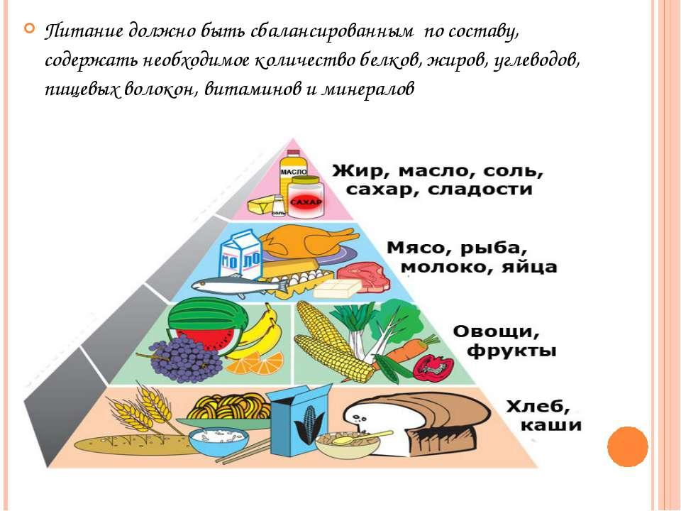 Питание должно быть сбалансированным по составу, содержать необходимое количе...