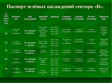 Паспорт зелёных насаждений сектора «В». № учёт-ного учас-тка Количес-тво Вид ...