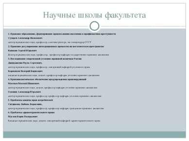 Научные школы факультета 1. Правовое образование, формирование правосознания ...