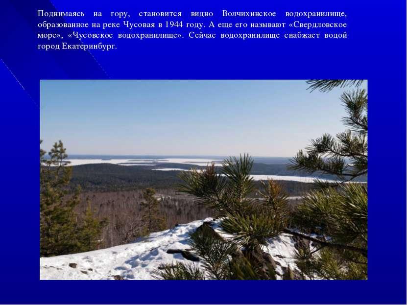 Поднимаясь на гору, становится видно Волчихинское водохранилище, образованное...