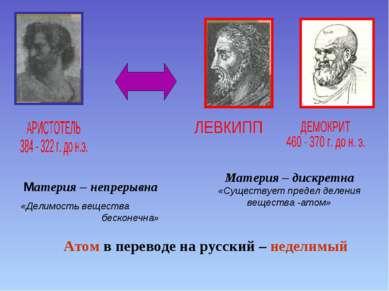 Материя – дискретна «Существует предел деления вещества -атом» Материя – непр...