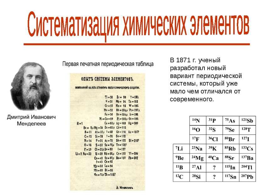 В 1871 г. ученый разработал новый вариант периодической системы, который уже ...