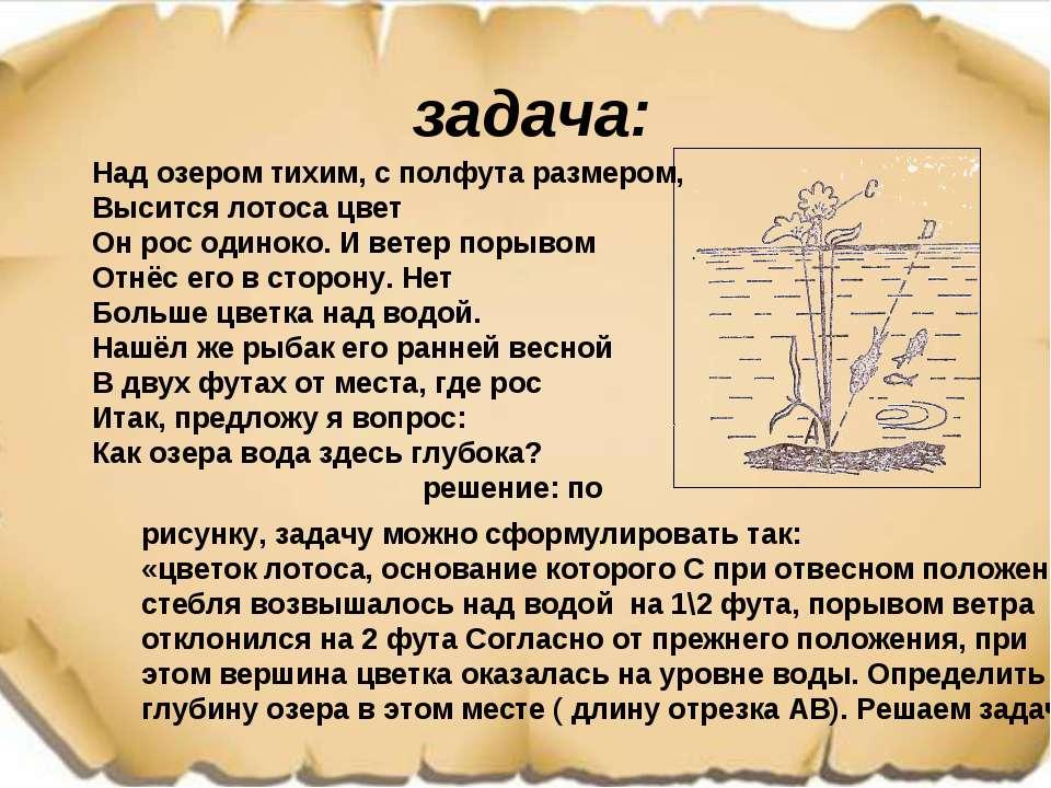 задача: Над озером тихим, с полфута размером, Высится лотоса цвет Он рос один...