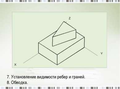 7. Установление видимости ребер и граней. 8. Обводка.