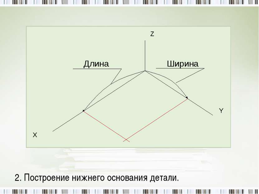 2. Построение нижнего основания детали.