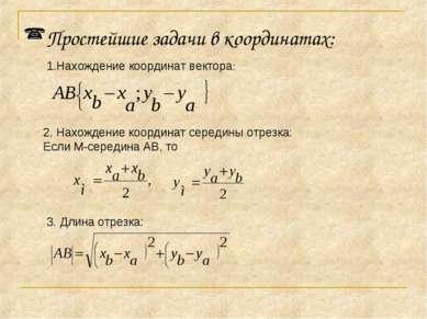 Простейшие задачи в координатах: Нахождение координат вектора: 2. Нахождение ...
