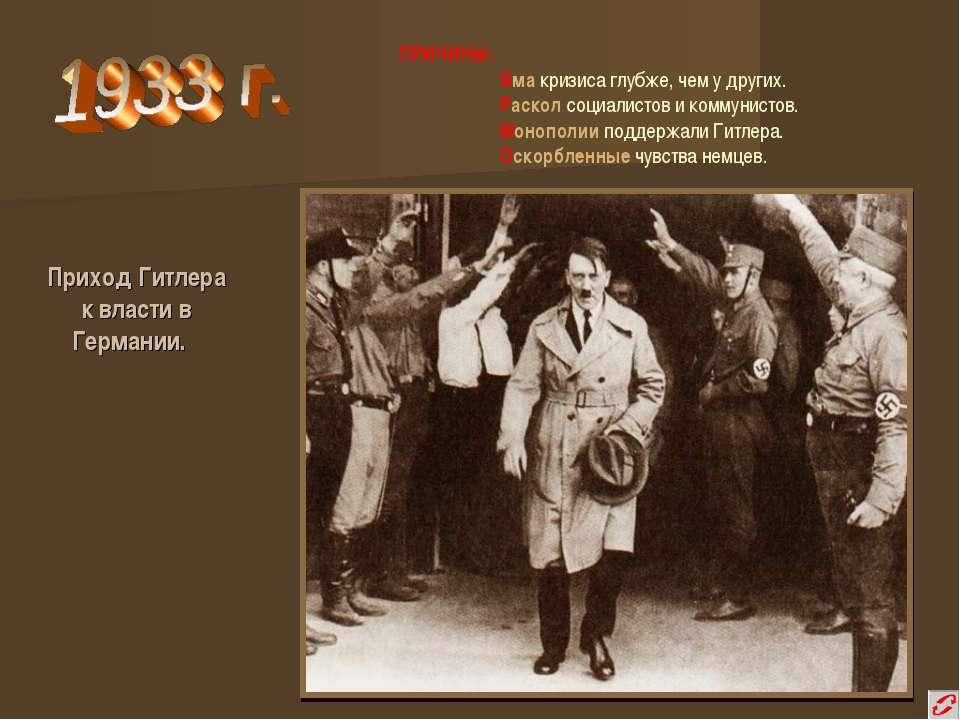 Приход Гитлера к власти в Германии. ПРИЧИНЫ: Яма кризиса глубже, чем у других...