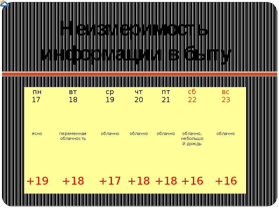Неизмеримость информации в быту пн 17 вт 18 ср 19 чт 20 пт 21 сб 22 вс 23 яс...