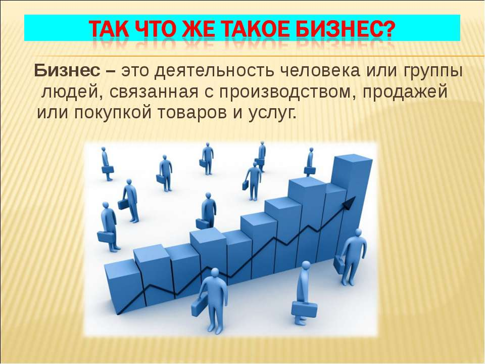 Бизнес – это деятельность человека или группы людей, связанная с производство...