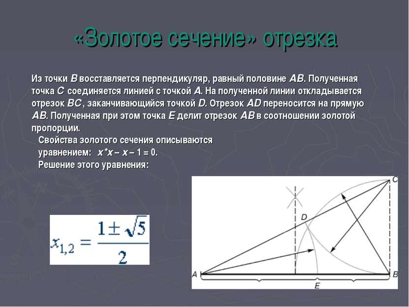 «Золотое сечение» отрезка Из точки В восставляется перпендикуляр, равный поло...