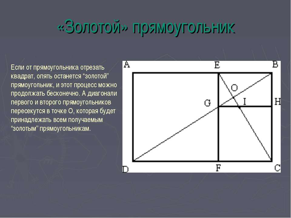«Золотой» прямоугольник Если от прямоугольника отрезать квадрат, опять остане...