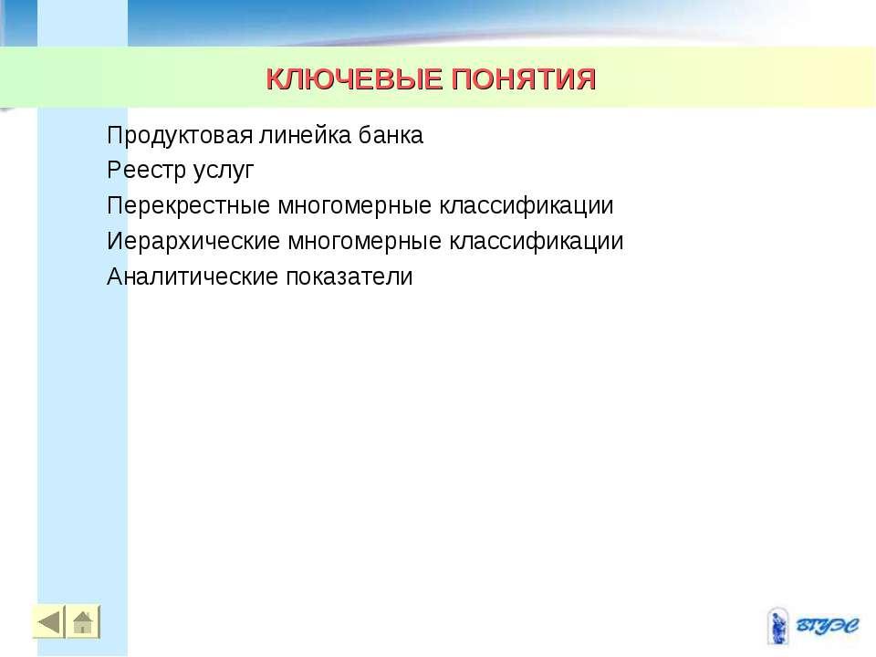 КЛЮЧЕВЫЕ ПОНЯТИЯ * Продуктовая линейка банка Реестр услуг Перекрестные многом...