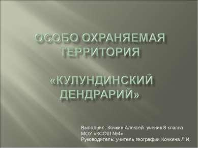 Выполнил: Кочкин Алексей ученик 8 класса МОУ «КСОШ №4» Руководитель: учитель ...