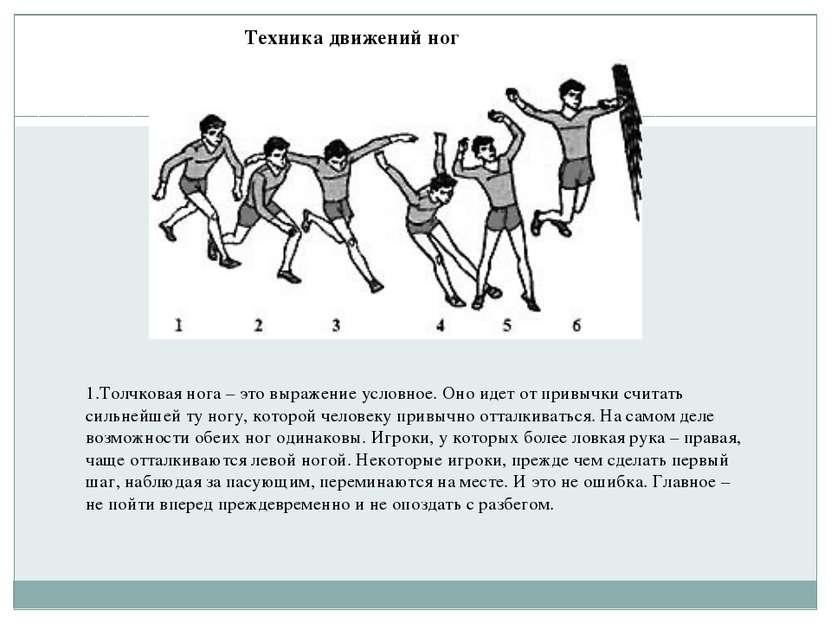 Техника движений ног 1.Толчковая нога– это выражение условное. Оно идет от п...