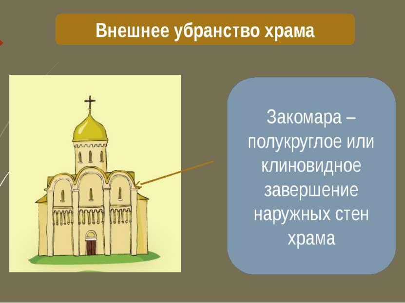 Внешнее убранство храма Закомара – полукруглое или клиновидное завершение нар...