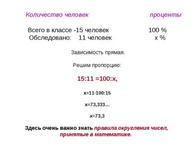 Количество человек проценты Всего в классе -15 человек 100 % Обследовано: 11 ...