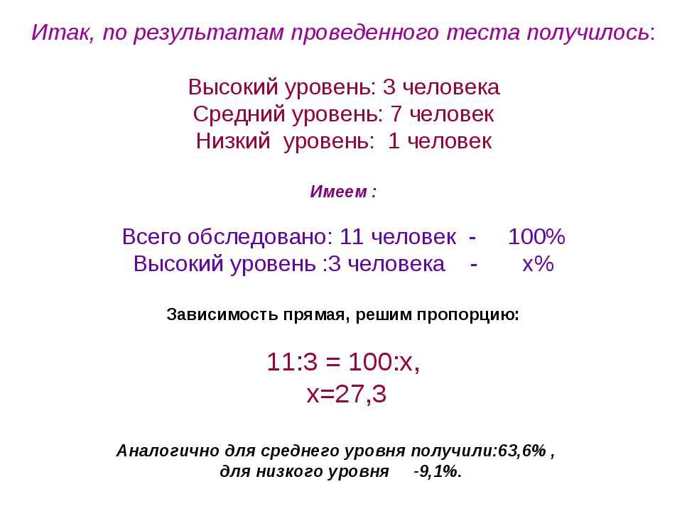 Итак, по результатам проведенного теста получилось: Высокий уровень: 3 челове...